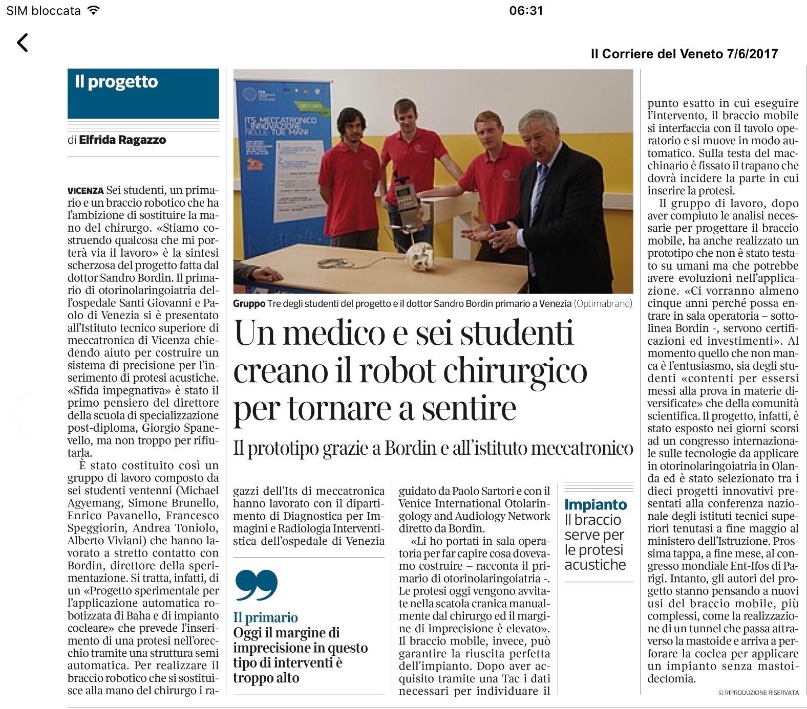 Robot chirurgico su Il Corriere del Veneto