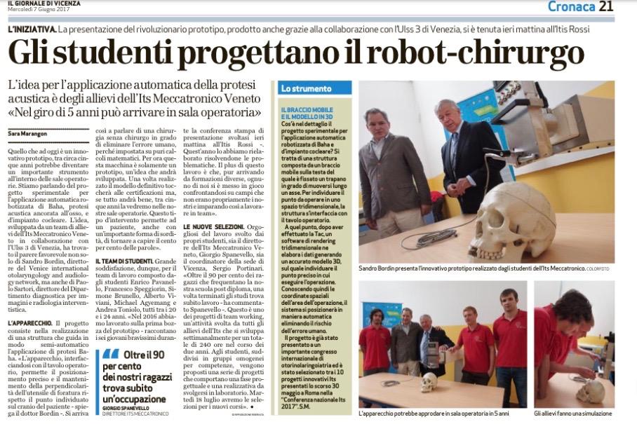 Robot chirurgico sul Giornale di Vicenza
