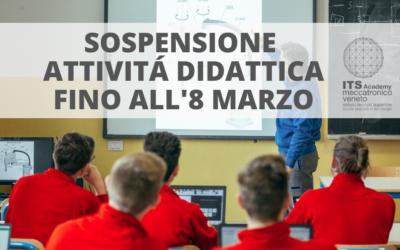 ATTENZIONE: SOSPENSIONE DELLE ATTIVITÁ DIDATTICHE FINO ALL'8 MARZO