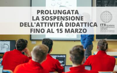 SI PROLUNGA LA SOSPENSIONE DELLE ATTIVITÁ DIDATTICHE FINO AL 15/3/2020